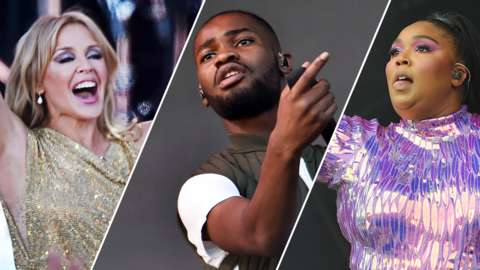 Kylie, Dave and Lizzo performing at Glastonbury