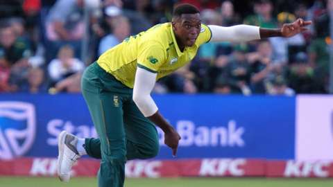 South African cricketer Lungi Ngidi in action
