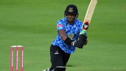 Sussex all-rounder Delray Rawlins had a great game with bat and ball