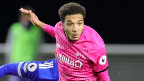 Jayden Mitchell-Lawson in action for Derby County