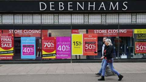 Debenhams shop with sales signs