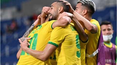 Brazil celebrate reaching the semi-final