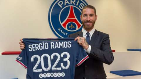 Sergio Ramos has signed until 2023 with French club Paris St-Germain from Real Madrid