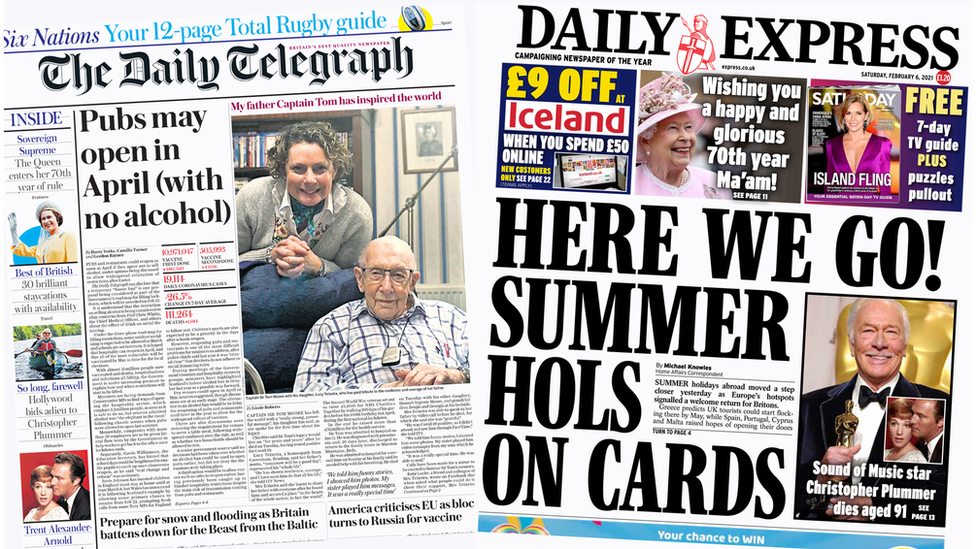 Daily Telegraph and Daily Express front pages 06/02/21