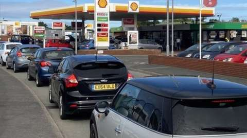 Petrol Station queues on Friday at the Esso Station in Abergele