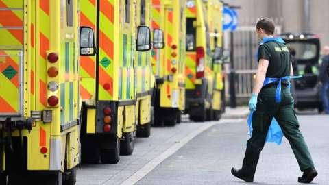 Ambulance lined up at a hospital