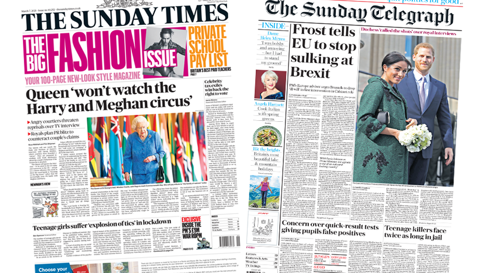 The Sunday Times and the Sunday Telegraph front pages 7 March 2021
