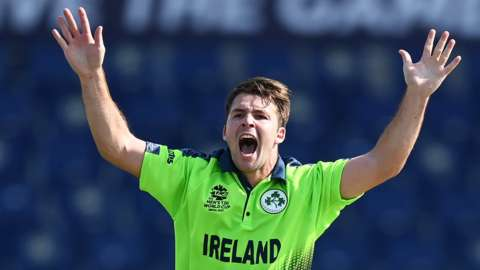 Ireland's Curtis Campher appeals for an lbw against the Netherlands