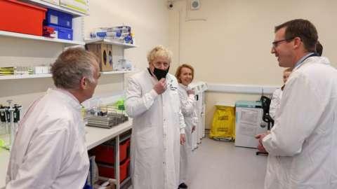 Boris Johnson at a Covid testing laboratory