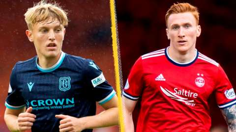 Dundee's Max Anderson and Aberdeen's David Bates
