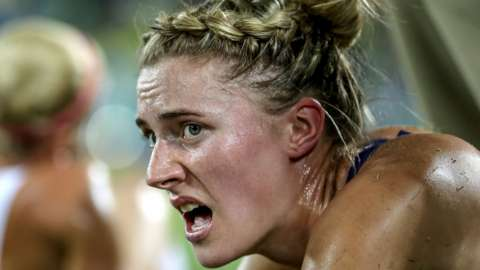 An exhausted Natalya Coyle after finishing the shooting and running event at the 2016 Rio Olympics
