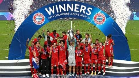 Bayern Munich lift the Champions League trophy