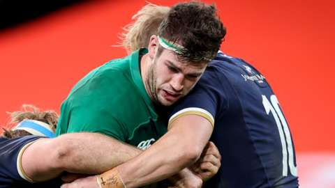 Caelan Doris in action for Ireland against Scotland in December