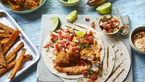 Crispy cod wraps with salsa and harissa lime mayo