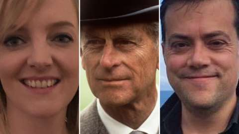 three way split image of prince Philip and members of the public