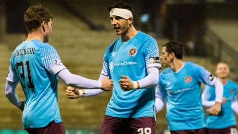 Hearts celebrate Euan Henderson(left) making it 2-0