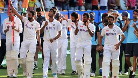 India celebrate after winning the Test series