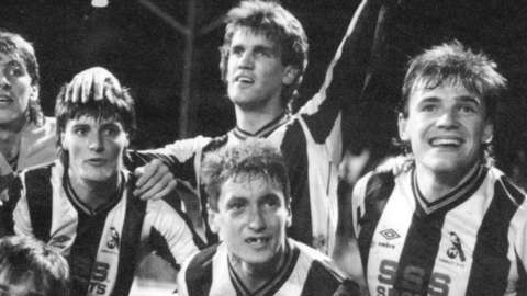 Chorley's players celebrate beating Wolves in the FA Cup in 1986