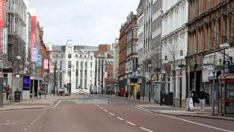 Belfast's streets are deserted due to the lockdown