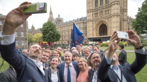 SNP taking selfies outside the Commons