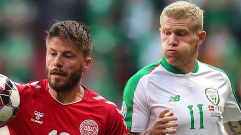 James McClean battles with Denmark's Lasse Schone during their Euro 2020 qualifier in Copenhagen in June