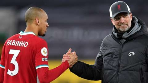 Fabinho and Liverpool boss Jurgen Klopp