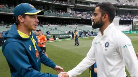 Australia captain Tim Paine and India captain Virat Kohli
