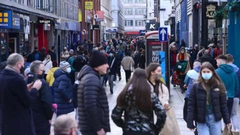 Shoppers in Belfast City Centre in December 2020
