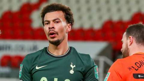 Tottenham's Dele Alli reacts during his side's Carabao Cup quarter-final win over Stoke City