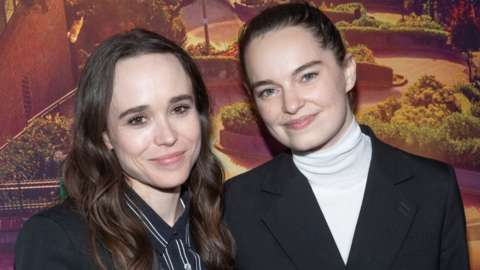From left to right: Elliot Page and Emma Portner. File photo