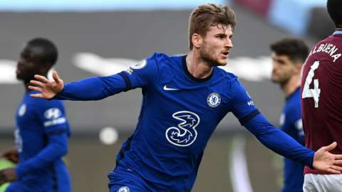 Timo Werner scores for Chelsea against West Ham