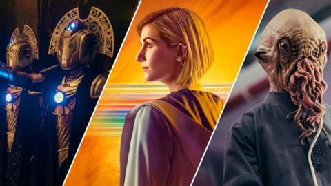 Cybermen, The Doctor and an Ood in Doctor Who