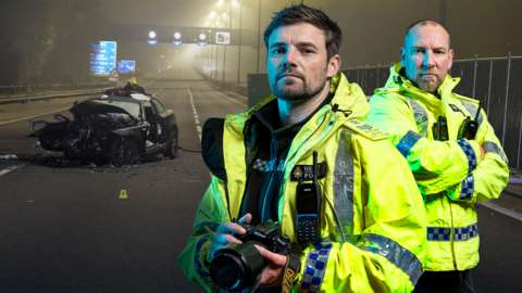 Promo image for Crash Detectives: Two police officers in front of a crashed car on the motorway