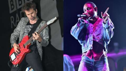 Matt Bellamy and Kendrick Lamar on stage performing