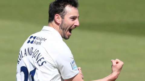Middlesex and England paceman Toby Roland Jones took 4-29 against hapless Surrey to end up with seven wickets in the match at Lord's