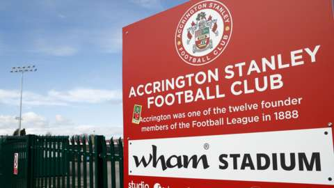 Wham Stadium sign at Accrington's ground