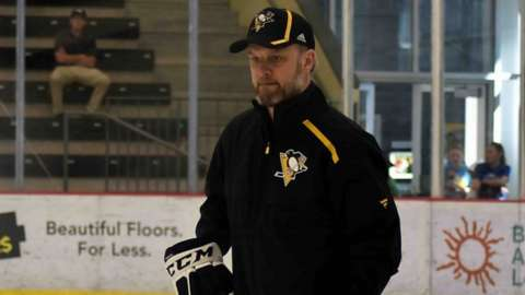 The new head coach of Cardiff Devils Jarrod Skalde at training with the Wilkes-Barre/Scranton Penguins