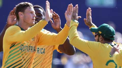 South Africa celebrate taking an Irish wicket