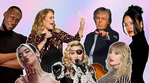 Stormzy, Adele, Paul McCartney, Rihanna, Dua Lipa, Madonna and Taylor Swift