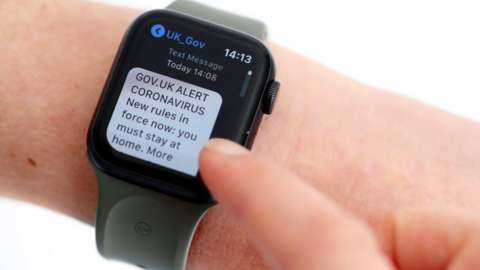 Covid text alert on a smart watch