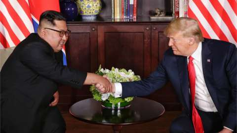 Kim Jong-un and Donald Trump shake hands in Singapore