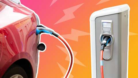 An illustration shows lightening bolts leaping from an electric car plugged in to charge, against the background of sunset colours
