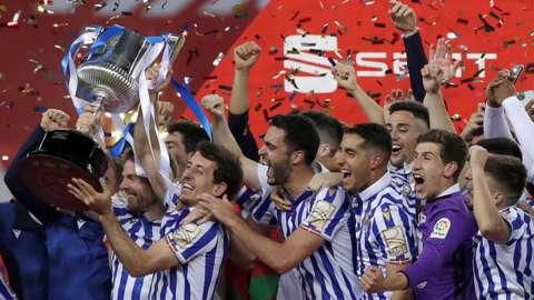 Real Sociedad celebrate with the Copa del Rey trophy
