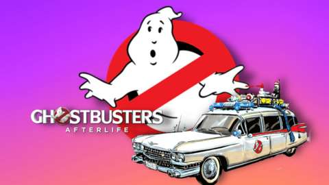 Ghostbusters logo and car.