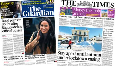 The Guardian and the Times front pages