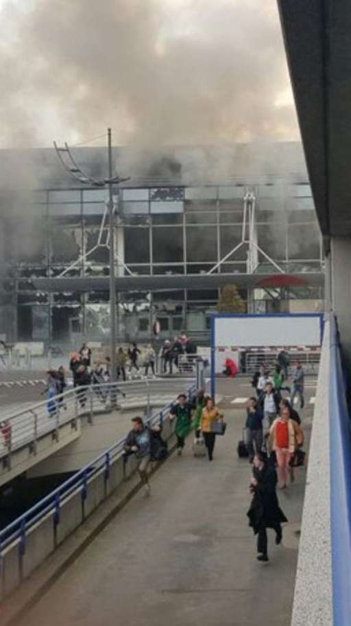 Two explosions reported at #Brussels airport. Photo via @wmiddelkoop
