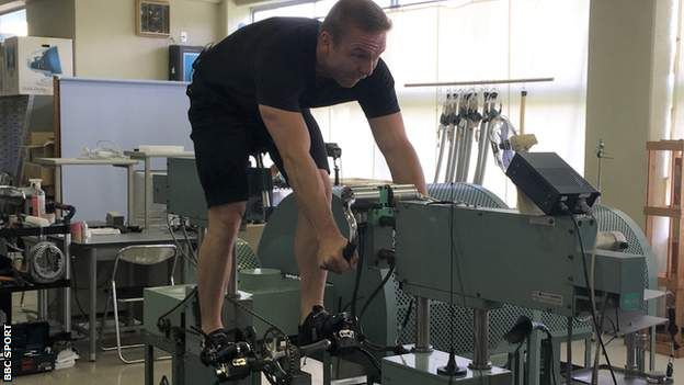 Sir Chris Hoy training at the Japan Keirin School on his return in 2019