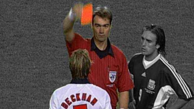 Argentina v England, 1998 World Cup: David Beckham's red card thumbnail