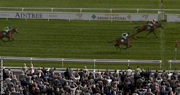 Potters Corner wins the Virtual Grand National from Walk In The Mill