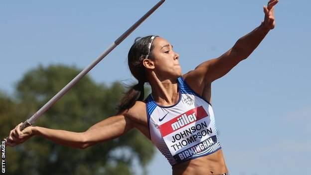 Katarina Johnson-Thompson competes during the Women's Javelin Final